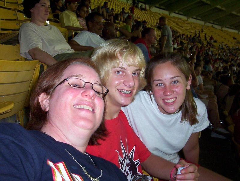 Deborah and the kids at the Nationals baseball game (08/03/05)