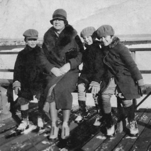 "Winter on the boardwalk. Anna Finan with kids:  Vincent, Pat, and Jane / late 1920s or early '30s L-R: Vincent Thomas Finan Jr:  1920-2004 Ann Patricia Finan (""Pat""): 1922-2001 Jane Marie Finan:  1918-1996"