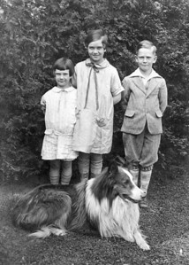 "Pat, Jane, and Vincent Finan with ""Tommy"", early 1930s.  Tommy's intelligence was the stuff of legend. He died after eating some deliberately poisoned meat that someone threw into the yard."