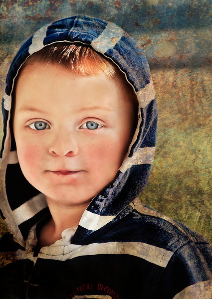12.6.11- a candid shot taken of our grandson with a textured background added. Have a great Tuesday!