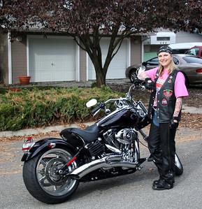 Melissa w/ Jerry's Harley. Oct 2009