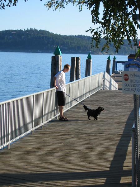 Pat walking Mitch at Lake Coeur d' Alene