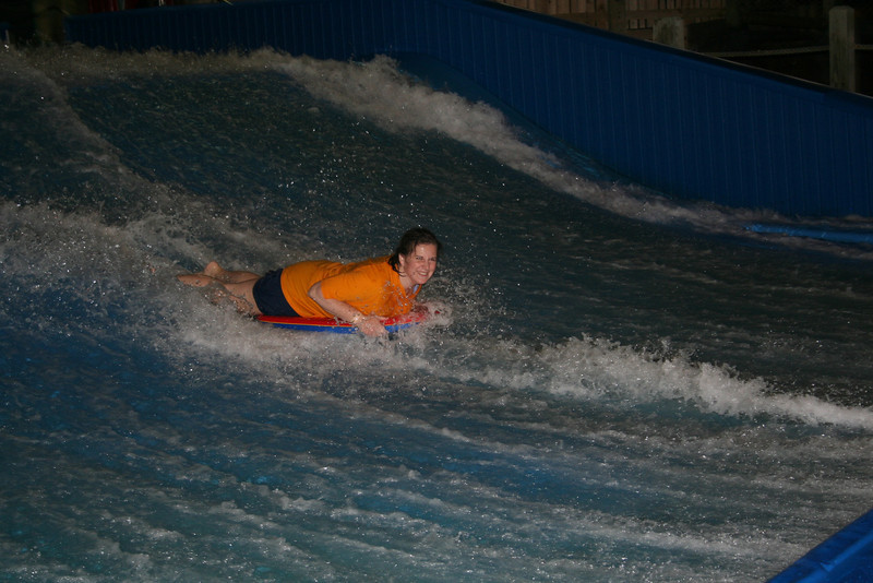 Now it is Lorinda's turn to body board.