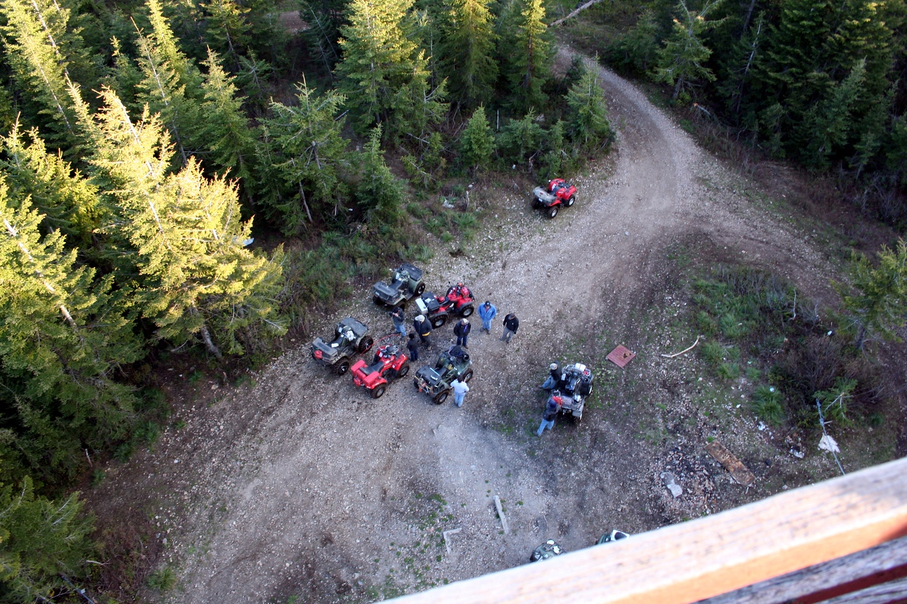 Looking down at the ATVs from the tower