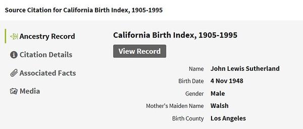 1948 birth John Lewis Sutherland LA CA