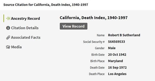 1972 death Robert Bruce Sutherland Ca