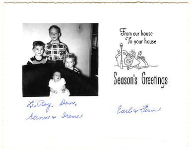 Christmas greetings from Earl and Fern Griffin, with children: LeRoy, Don, Glenn, and Irene.