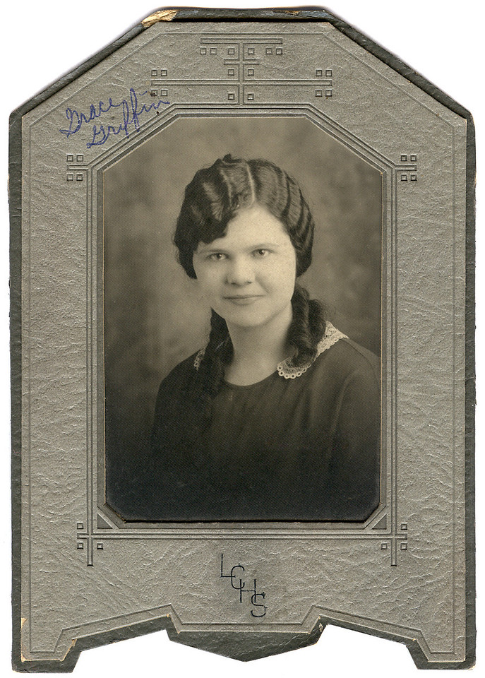 """Grace Griffin [Shockley]. Possibly a high school photograph (""""LCHS""""). If so, this would have been around 1926 or so."""