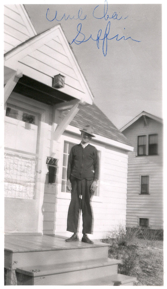 Charles Griffin on the porch of Earl and Fern's home. Earl was Charles' son. Charles married May Thompson, sister to Stella and Anna (Thompson Turner).