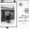 1942 Christmas card showing Bob (Robert) Thompson in front of his house.