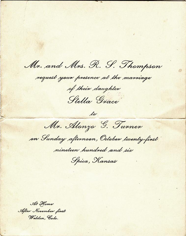 Wedding Invitation for Stella Thompson and Alonzo Turner 1906.