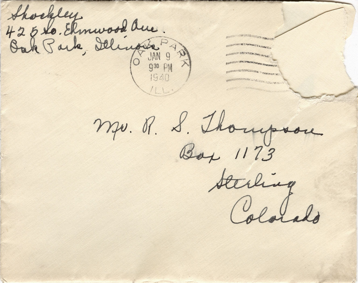 Shockley Letter to Robert Thompson