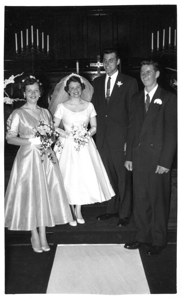 Doris Mae Shockley's wedding. Groom is possibly Dick. Date unknown.