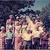 Thompson Reunion. Front Row: Unknown, Unknown, Kelly, Dwight, Floyd Stewart, Donny. Middle Row: Unknown, Valerie Mullarkey Ell, Frances Tish, Kenneth Mullarkey, Dorothy Tish. Back Row: Estelle Thompson, Voul Thompson, Estell and Voul's son, Wilma, and Neil (Val's brother).