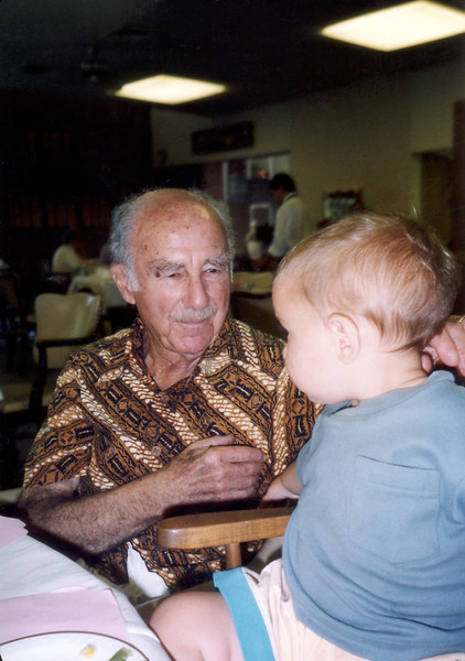 Opa with Beau at Valle Verde, Santa Barbara, fall 1992