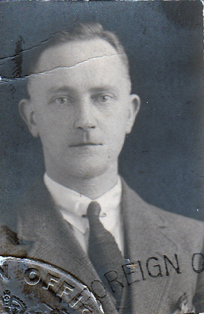 My Grandfather David Jones, apparently a photo from an immigration document, probably around 1930.