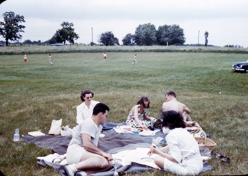 picnic near North Ave (Chicago) Beach? - July 1948<br /> Jean, Ray Korngold, Dolores & Bruno Pasowicz