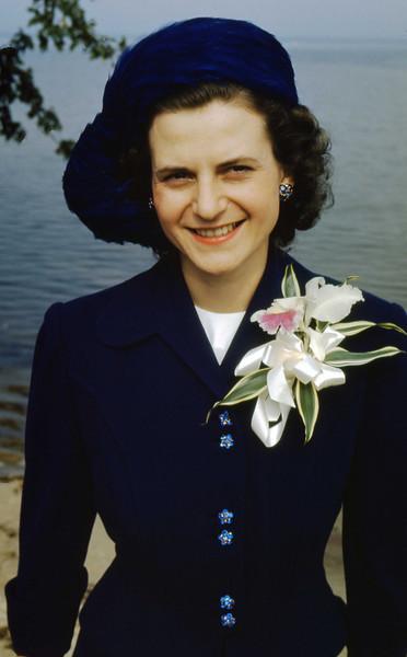 Jean in her wedding ensemble - 19th September, 1948