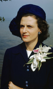 Jean wearing corsage she carried in her wedding the day before - 19th September, 1948