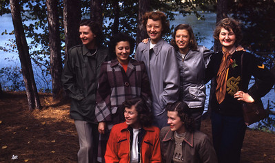 Jean with YWCA young businesswomen she counseled— on a camping trip north of Saginaw, Michigan - 2 October 1948