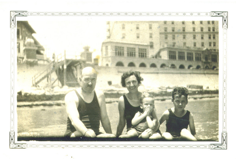 "Dad, Mom, Jim & Jack<br /> ""On the Beach"" - ~1928"