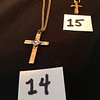 14. Cross with diamond on 18 inch gold chain was bought by Ann at the Rehoboth antique show.<br /> 15. Small gold cross with 18 inch gold chain from pascals family. It has a space for a relic (bone of Christ) in it.