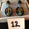 12. Black onyx earrings set in rose gold with turquoise. They belonged to Joseph Girard's grandmother.