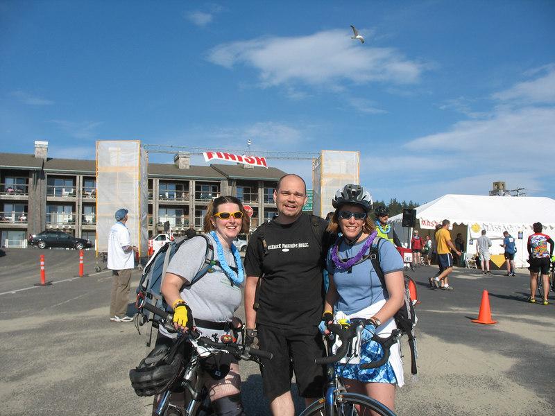 Reach the Beach - May 20, 2006 : Erika, Joe, and Wendy at finish at Pacific City, Oregon