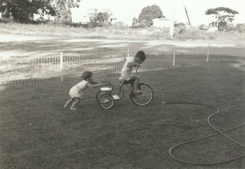 Scanned Photo, Michael & Peter Roderick, this was at Love Lane, Mundingburra, ~ 1964