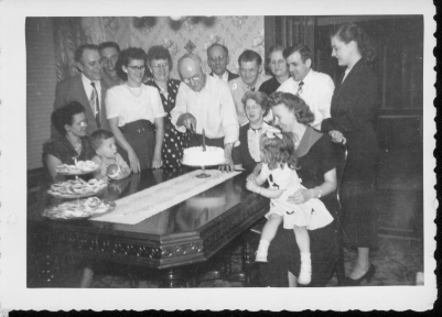 Birthday - Ann, Jerome, Frank Ranch: Phil Ronczkowski (making face as usual, Phil's son, a US Marine): Joan (Tabisz) Sliwiak: Frances Ochocki (Ronczkowski): Phil Ronczkowski cutting cake: John Ranch (Ronczkowski): Alfred and Ann Benno:  Isabelle Ranch (seated , John Ranch's spouse): Teddy Tabisz: Leona Ronczkowski (Phil's daughter): Estelle Tabisz holding Clarice Sliwiak (Joan's daughter)
