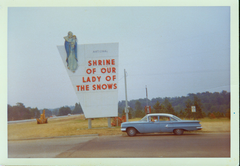 Frank Ranch, Ann Ranch, Jerome Ranch at a shrine, 1960 Chevy