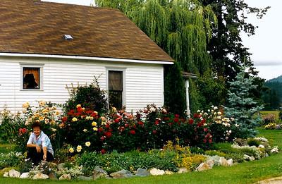 Maryruth visits my rose garden at Hauser