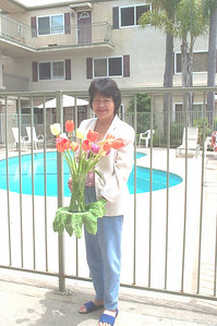 Mom and her 2008 Mother's Day flowers.