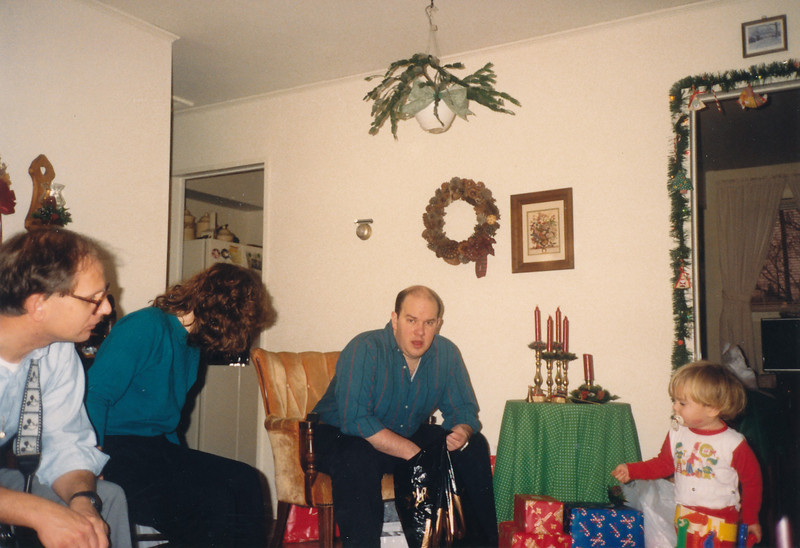 Jim getting his presents out of a bag