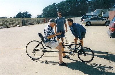 Dad, Craig, Dave - recumbant (sp?) bike that Craig made for Dad