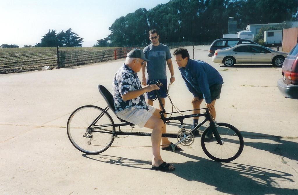 Dad, Craig, Dave - recumbant (sp?) bike that Craig made for Dad