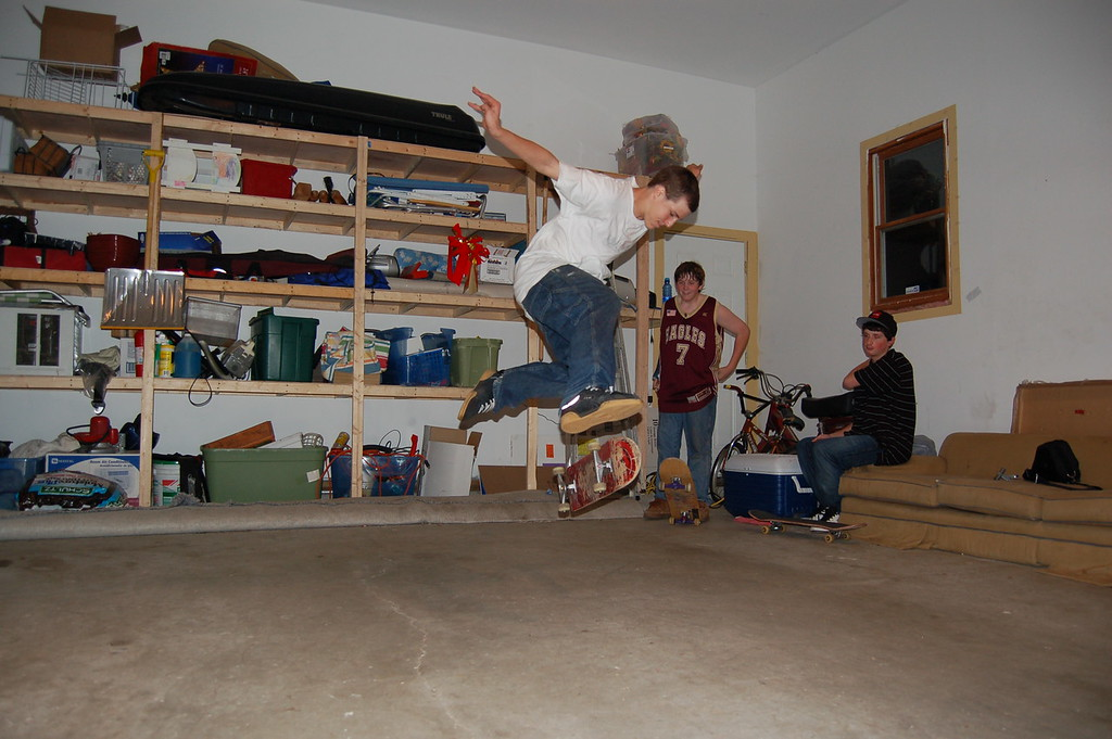 This is what skateboarders do on a rainy day in the garage.