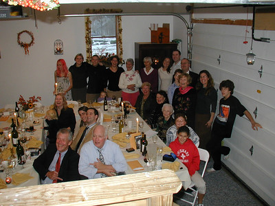 Thanksgiving in Jills garage, 2005.   Dad and cousin Jack are not being nice!