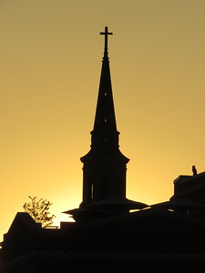 Sunset on St  Philip's Church, 142 Church Street, Charleston, SC, march 22, 2019, 717pm  IMG_7058