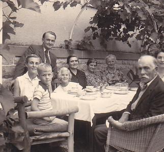 L to R Erna Graf Conrad, John Conrad Jr., Dorle Kauzmann, Carolyn Conrad, Elsa Kauzmann (stupp), Johanna Kauzmann (cousin), Hans Joachim Wilke, Ruth Kauzmann Wilke, Heinrich Graff 1954
