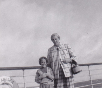 Carolyn & Erna Conrad S.S. America 10/1954
