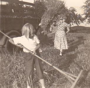 """Carolyn Conrad """"haying"""" Ittlingen, Germany Summer 1954"""