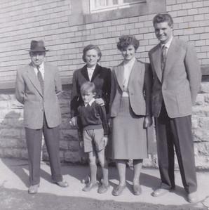 Felix Widder, Hilda Widder, Isolde Widder, Rudi Widder with Dieter Widder in front Ittlingen, Germany 1954