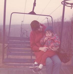 Yvonne & Kira on ski-lift on Pennsylvania's highest mountain Nov 1972