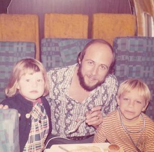 Kira, Chuck, Carl on airplane bound for Pittsburgh Nov 1972