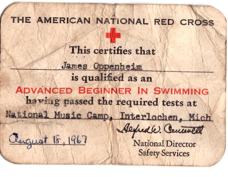 I must have been very proud of conquering my fear of water over my head.  It took three years of summer camp, but I earned my card and swam from one side of the lake to another, and kept the card all these years to remind me that I can do what I set my mind to accomplish.