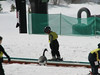 """Kinda blurry, but this is Owen on the """"Magic Carpet"""" at the kid's ski school. No, that's not a real goose, it's plastic."""