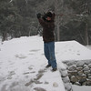 Ian's backswing, getting ready to whack a snowball.