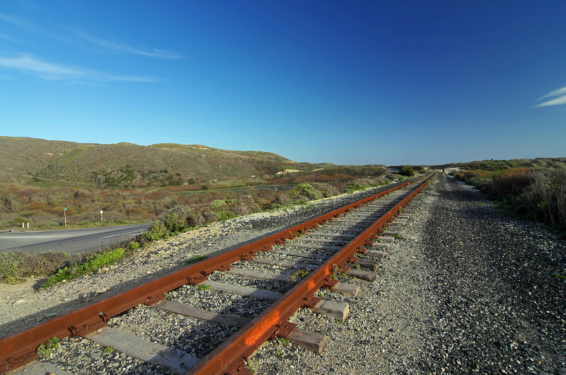 The old Southern Pacific railroad tracks along Hwy 1 and just above Bonny Doon Beach, Davenport CA