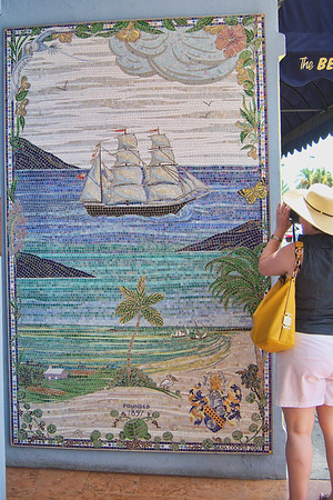 Photo Fran caught in action photographing this beautiful mosaic in Hamilton.